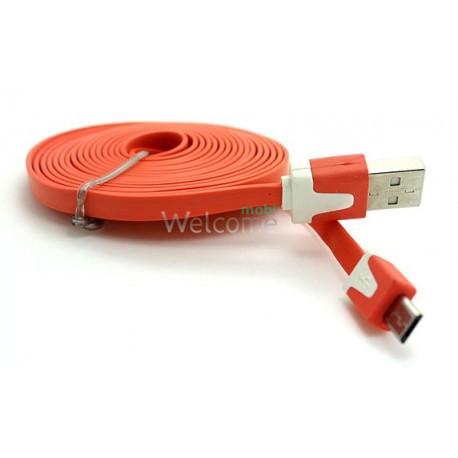 USB кабель micro Grand плоский orange 1м