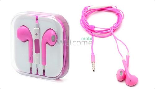 Навушники iPhone 5S pink (пульт + мікрофон)