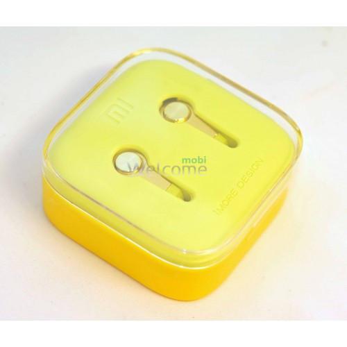Навушники вакуумные метал Xiaomi MI5 yellow+mic (гарнитура)
