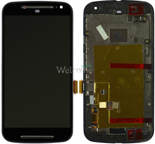 Дисплей Motorola XT1062 Moto G2/XT1063/XT1064/XT1068 with touchscreen and frame black orig