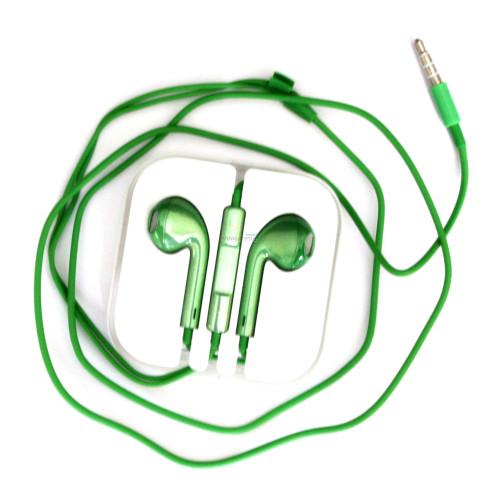 Навушники iPhone 5S green (пульт + мікрофон)