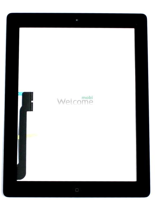 Сенсор iPad 3 зі шлейфом кнопки ввімкнення та кнопкою меню (home) black (orig)