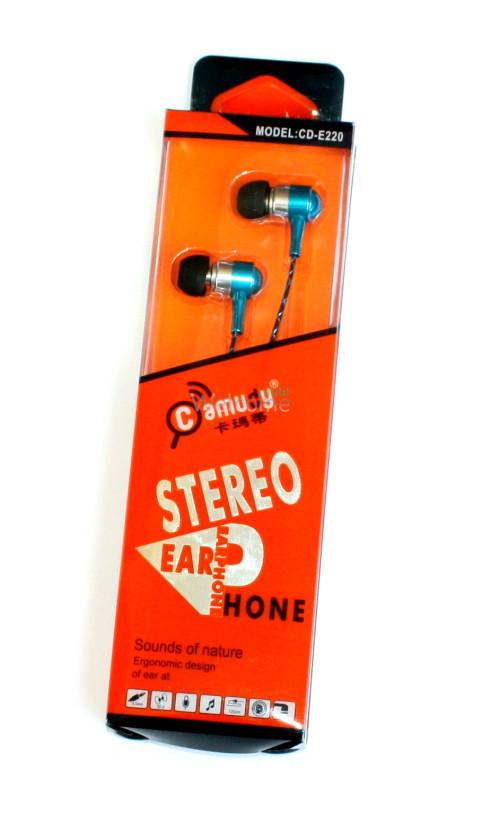 Навушники вакумні метал Camudy CD-E220 гарнитура blue