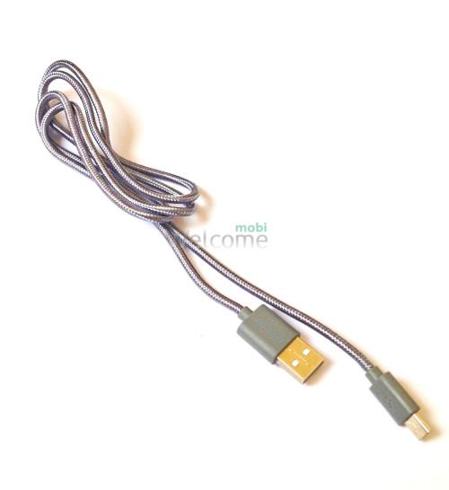 USB кабель micro Grand Braided Grey 1м