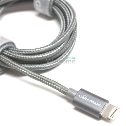 USB кабель для iPhone 5/5S/6/6S/7/8/X Grand Braided Grey 1м