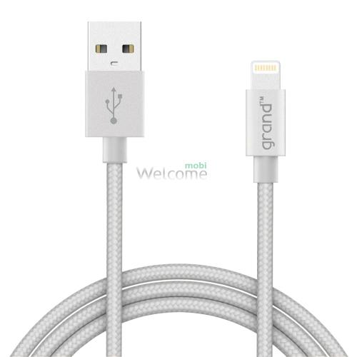 USB кабель для iPhone 5/5S/6/6S/7/8/X Grand Braided Silver 1м