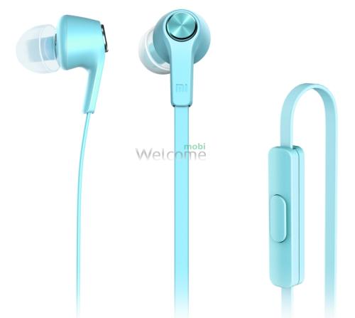 Навушники вакуумные метал Xiaomi MI5 blue+mic (гарнитура)