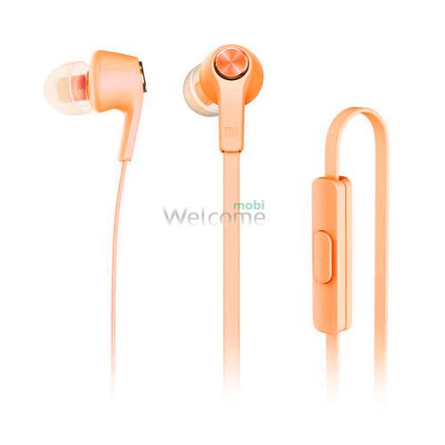 Навушники вакуумные метал Xiaomi MI5 orange+mic (гарнитура)