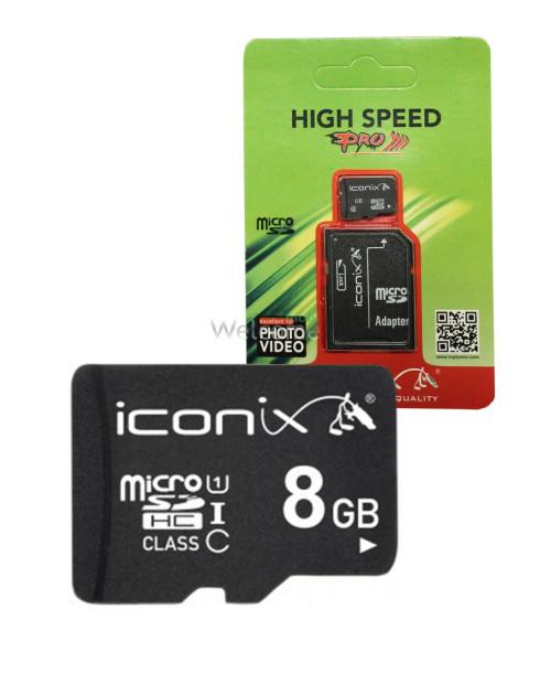 Карта пам`яті ICONIX MicroSDHC 8 ГБ 10 клас з перехідником