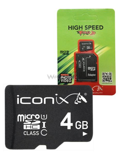 Карта памяти ICONIX MicroSDHC 4 ГБ 10 класс с переходником
