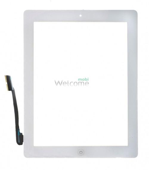 Сенсор iPad 3 зі шлейфом кнопки ввімкнення та кнопкою меню (home) white (high copy)