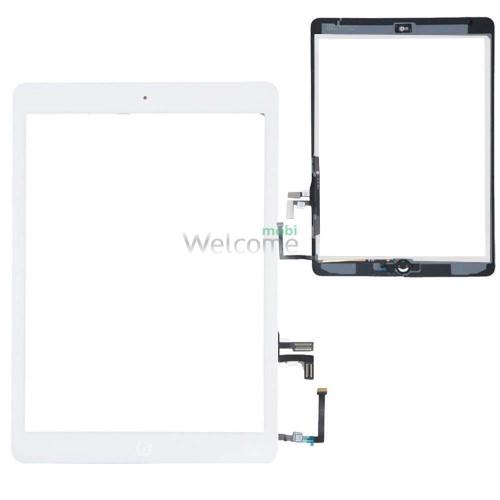 Сенсор iPad Air (iPad 5) зі шлейфом та кнопкою меню (home) white (оригінал)