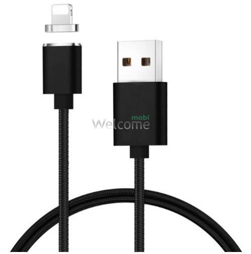 USB кабель магнітний метал Clip-On, 2.0 AF iPhone 5, 1м, black