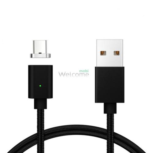 USB кабель магнітний метал Clip-On, 2.0 AF Type C, 1м, black