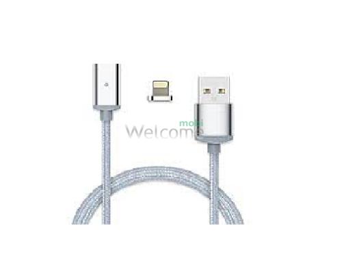 USB кабель магнітний метал Clip-On, 2.0 AF iPhone 5, 1м, silver