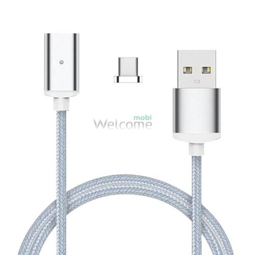 USB кабель магнітний метал Clip-On, 2.0 AF micro, 1м, silver