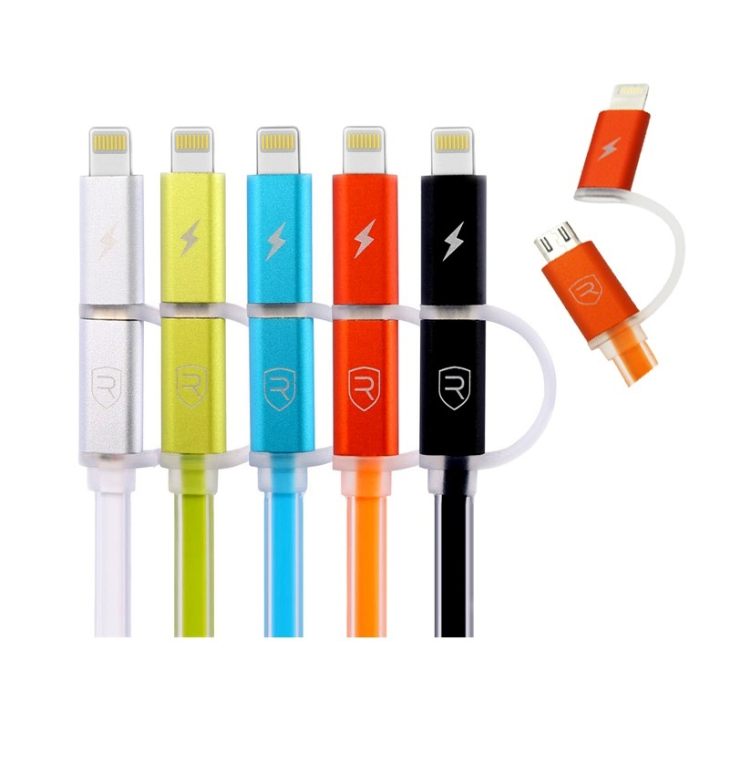 Combo кабель Remax Aurora 2in1 Lightning,micro USB, 1m orange